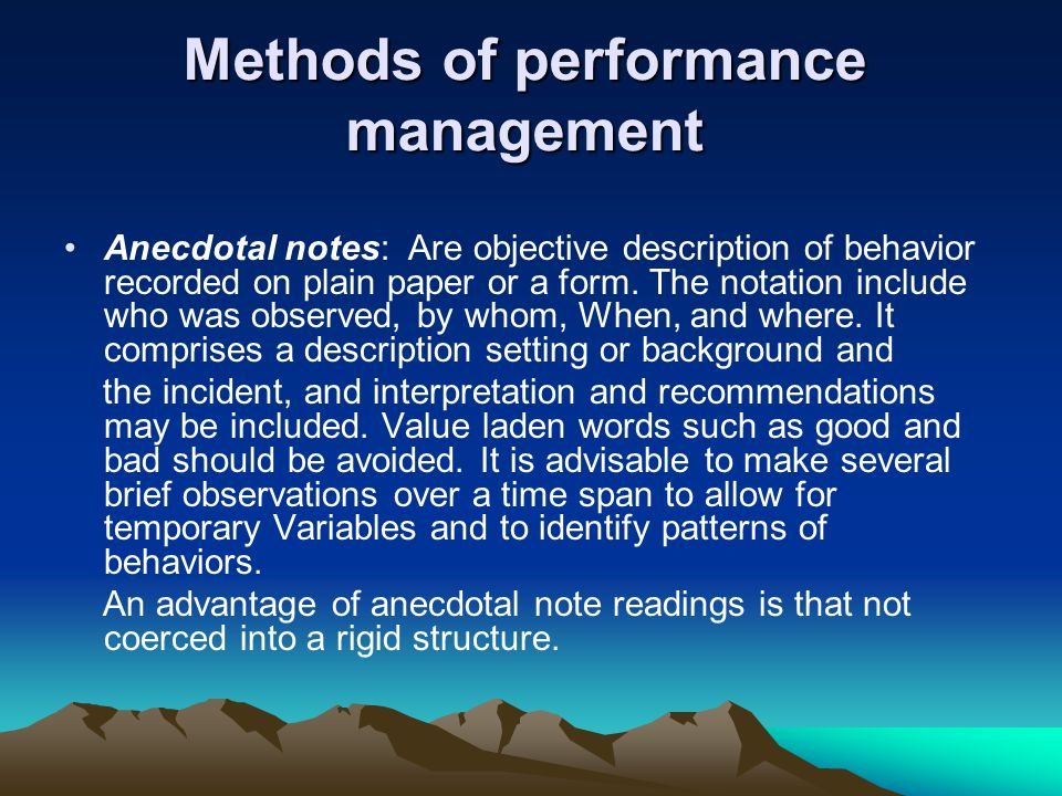 Methods of performance management