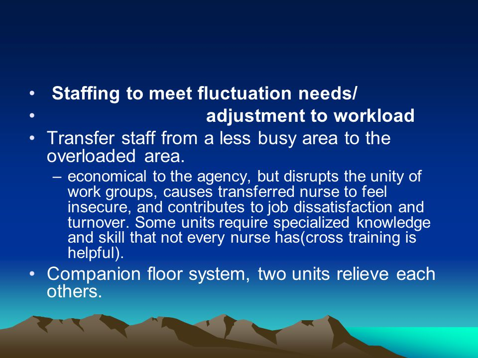 Staffing to meet fluctuation needs/ adjustment to workload