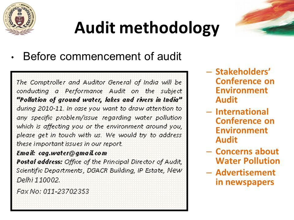 Audit methodology Stakeholders' Conference on Environment Audit