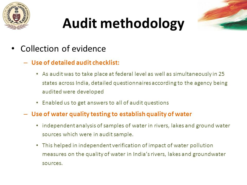Audit methodology Collection of evidence