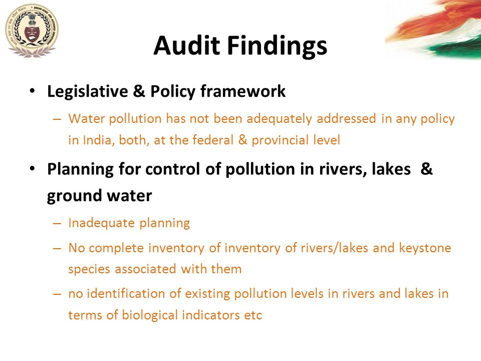 Audit Findings Legislative & Policy framework