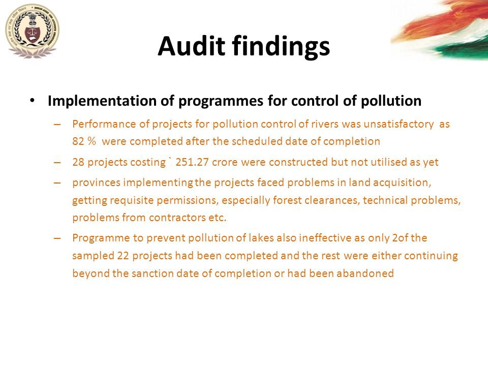 Audit findings Implementation of programmes for control of pollution