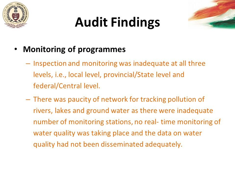 Audit Findings Monitoring of programmes