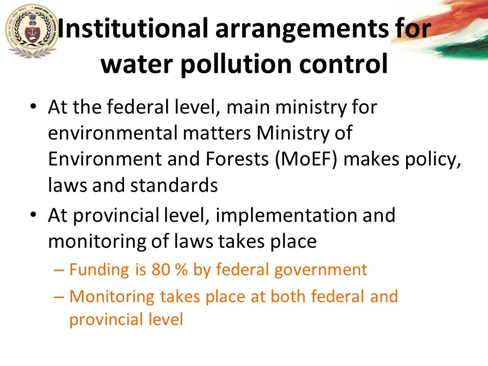 Institutional arrangements for water pollution control