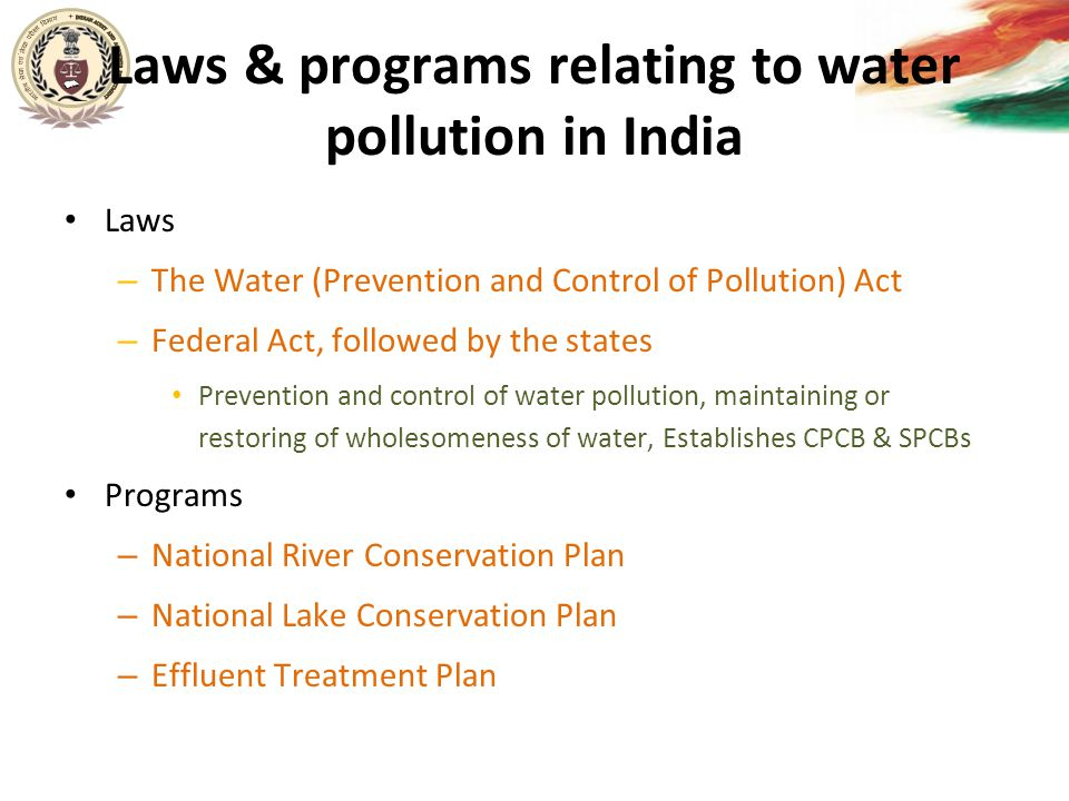Laws & programs relating to water pollution in India