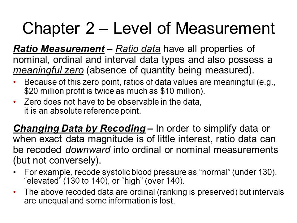 Chapter 2 – Level of Measurement