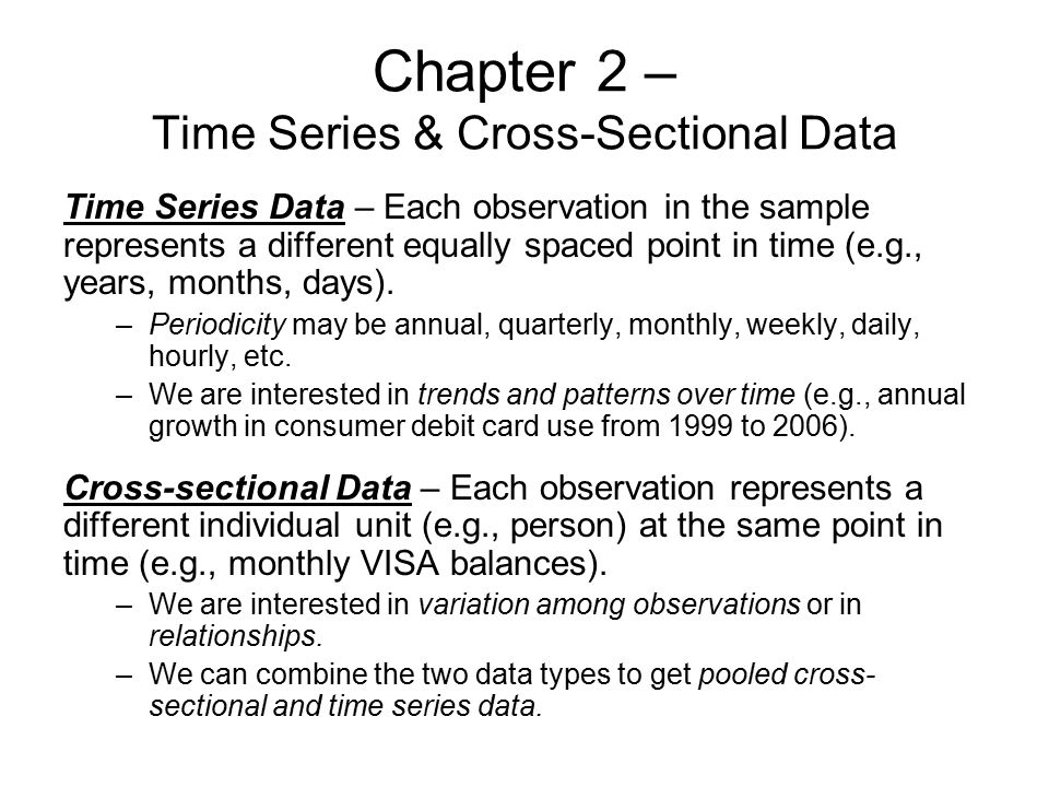 Chapter 2 – Time Series & Cross-Sectional Data