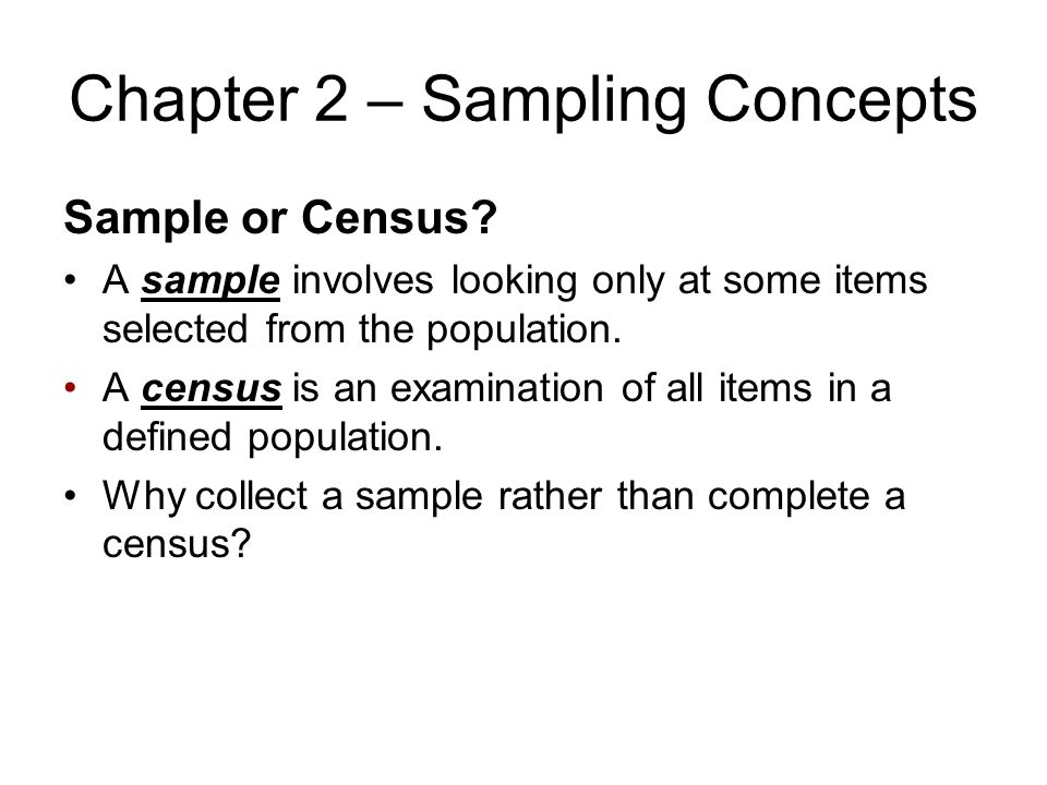 Chapter 2 – Sampling Concepts