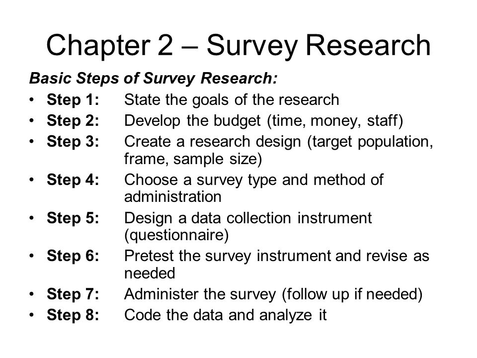 Chapter 2 – Survey Research