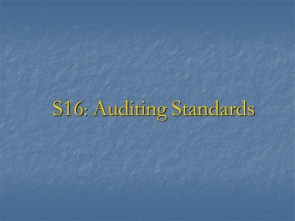 S16: Auditing Standards
