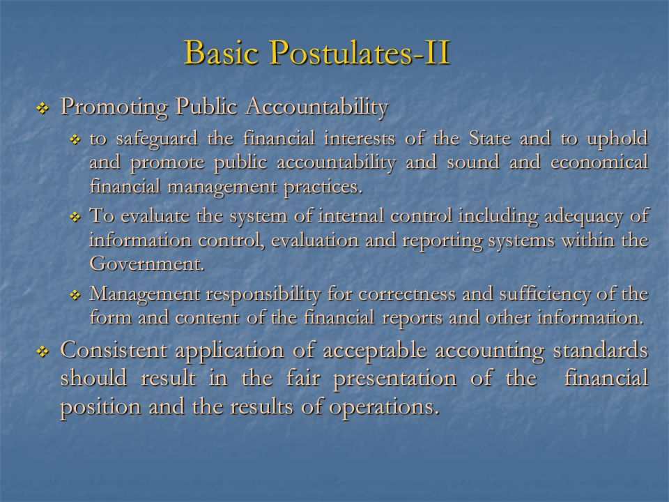 Basic Postulates-II Promoting Public Accountability
