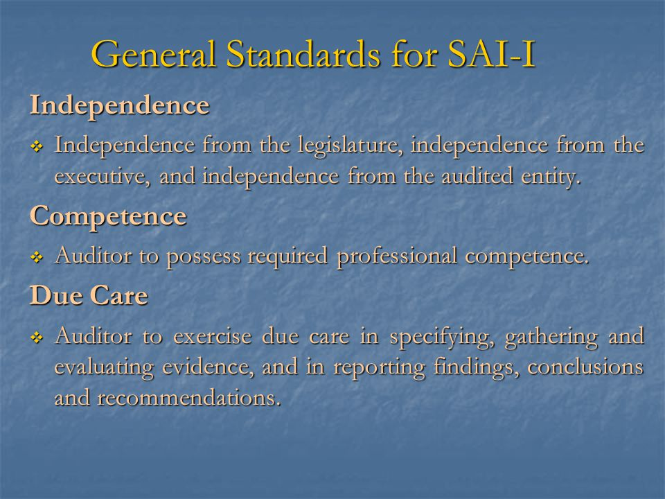 General Standards for SAI-I
