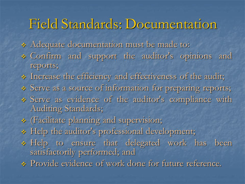 Field Standards: Documentation