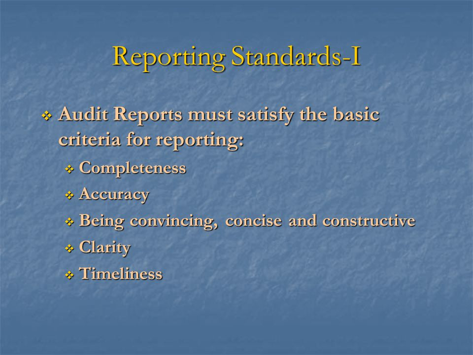Reporting Standards-I
