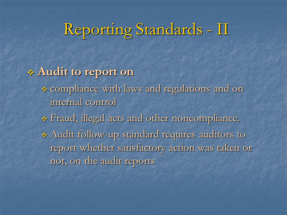 Reporting Standards - II