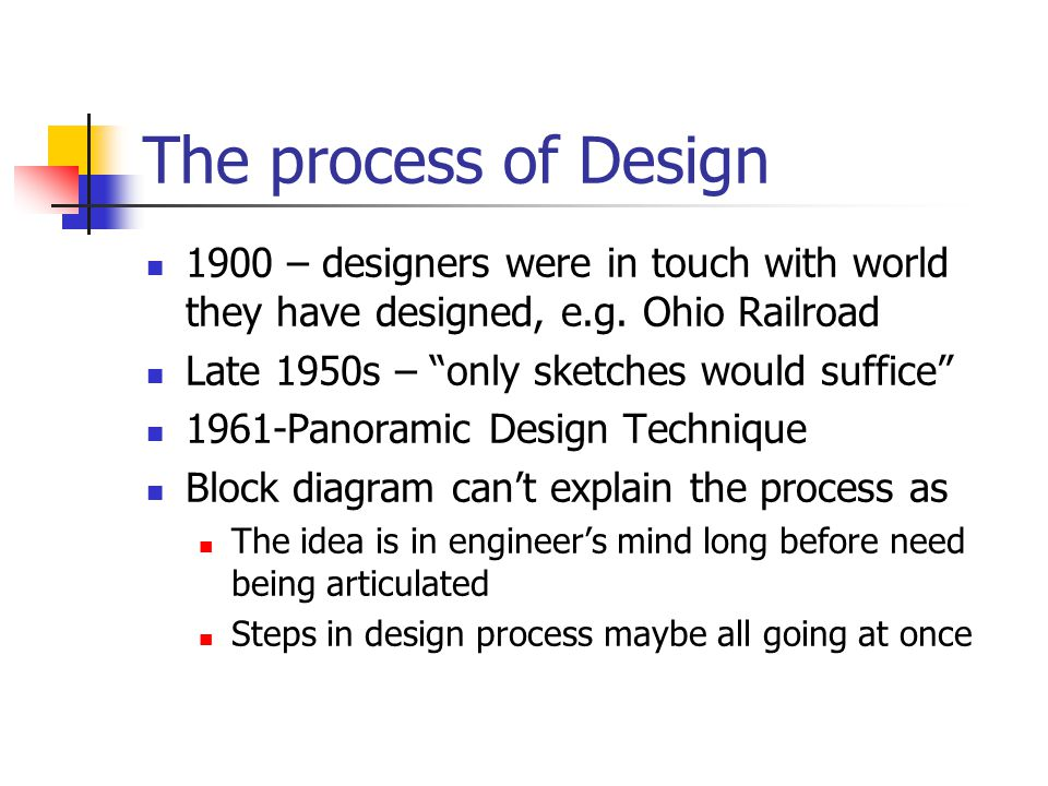 The process of Design 1900 – designers were in touch with world they have designed, e.g. Ohio Railroad.