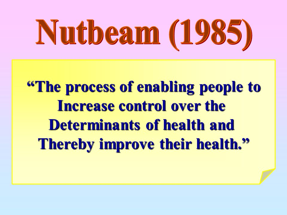 The process of enabling people to Increase control over the