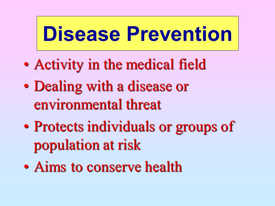 Disease Prevention Activity in the medical field
