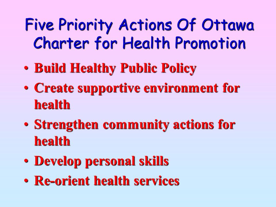 Five Priority Actions Of Ottawa Charter for Health Promotion