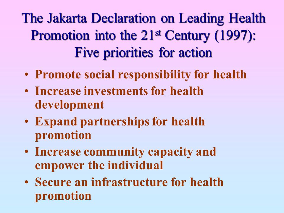 The Jakarta Declaration on Leading Health Promotion into the 21st Century (1997): Five priorities for action