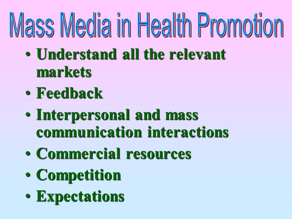 Mass Media in Health Promotion