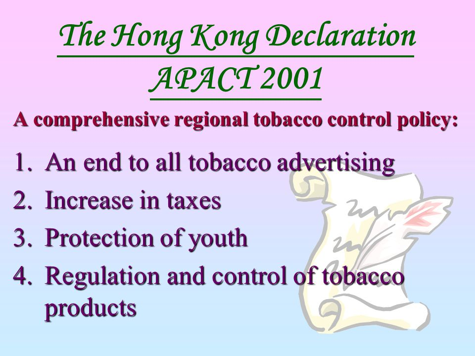 The Hong Kong Declaration APACT 2001