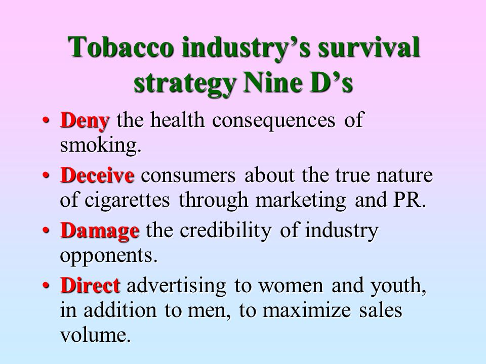 Tobacco industry's survival strategy Nine D's