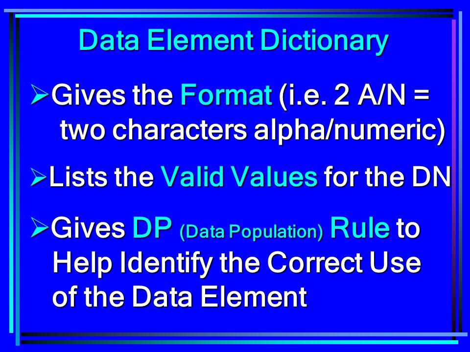Data Element Dictionary