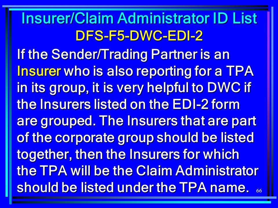Insurer/Claim Administrator ID List