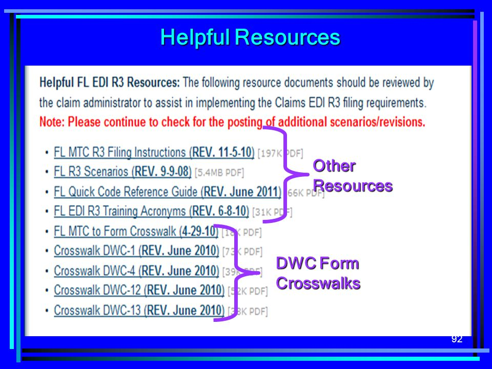 Helpful Resources Other Resources DWC Form Crosswalks