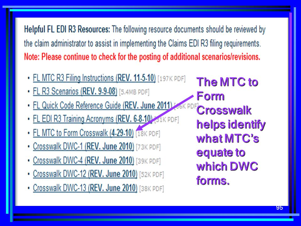 The MTC to Form Crosswalk helps identify what MTC's equate to which DWC forms.