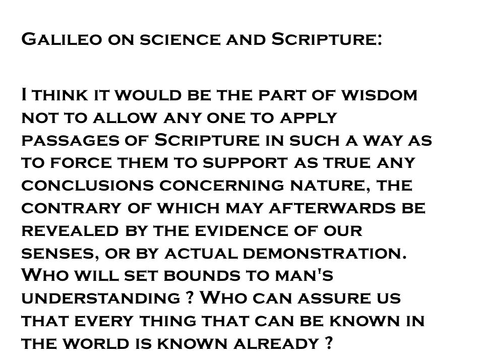 Galileo on science and Scripture: