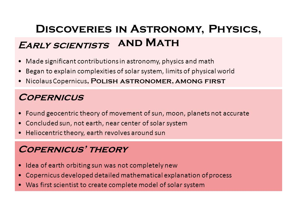 Discoveries in Astronomy, Physics, and Math