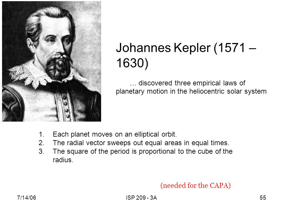 Johannes Kepler (1571 – 1630) … discovered three empirical laws of planetary motion in the heliocentric solar system.