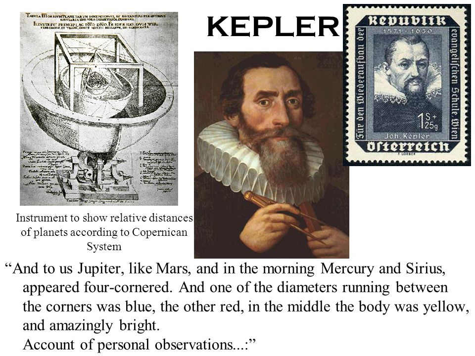 KEPLER Instrument to show relative distances of planets according to Copernican System.