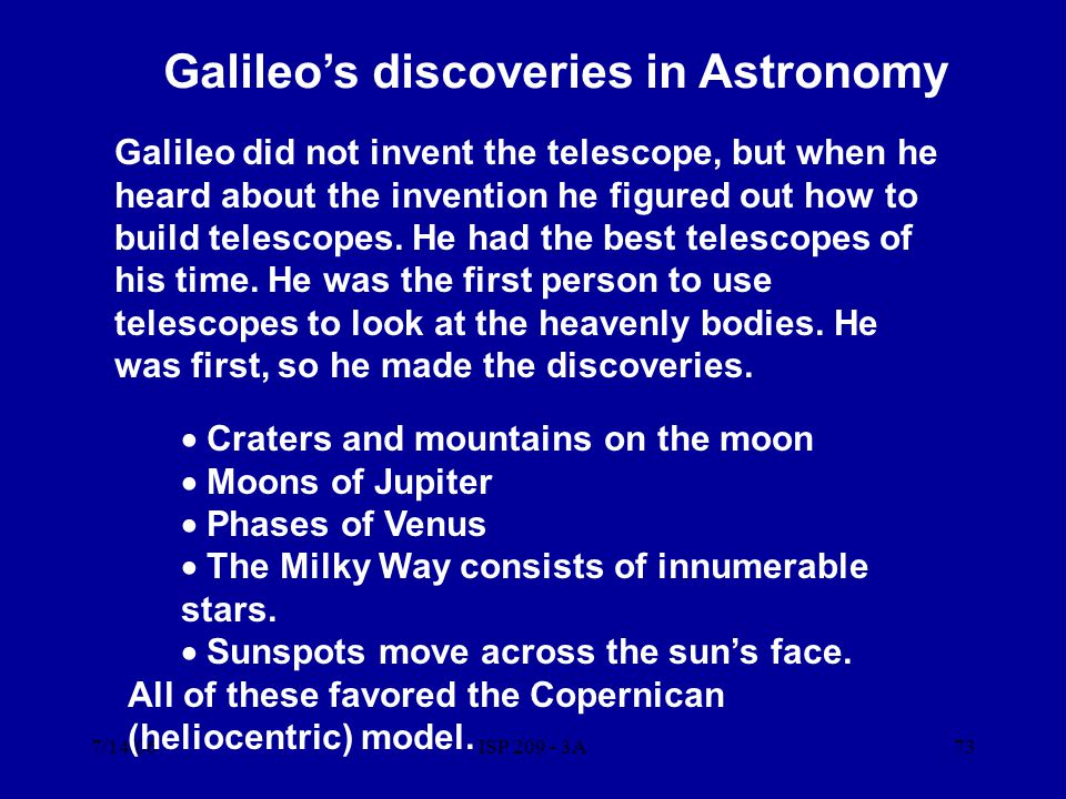 Galileo's discoveries in Astronomy