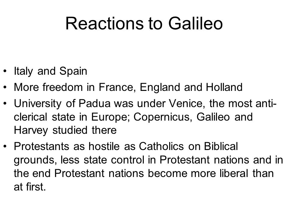 Reactions to Galileo Italy and Spain