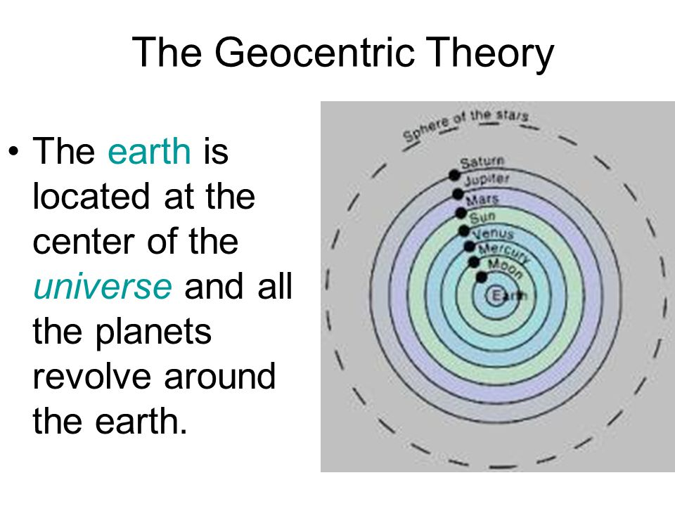 The Geocentric Theory The earth is located at the center of the universe and all the planets revolve around the earth.