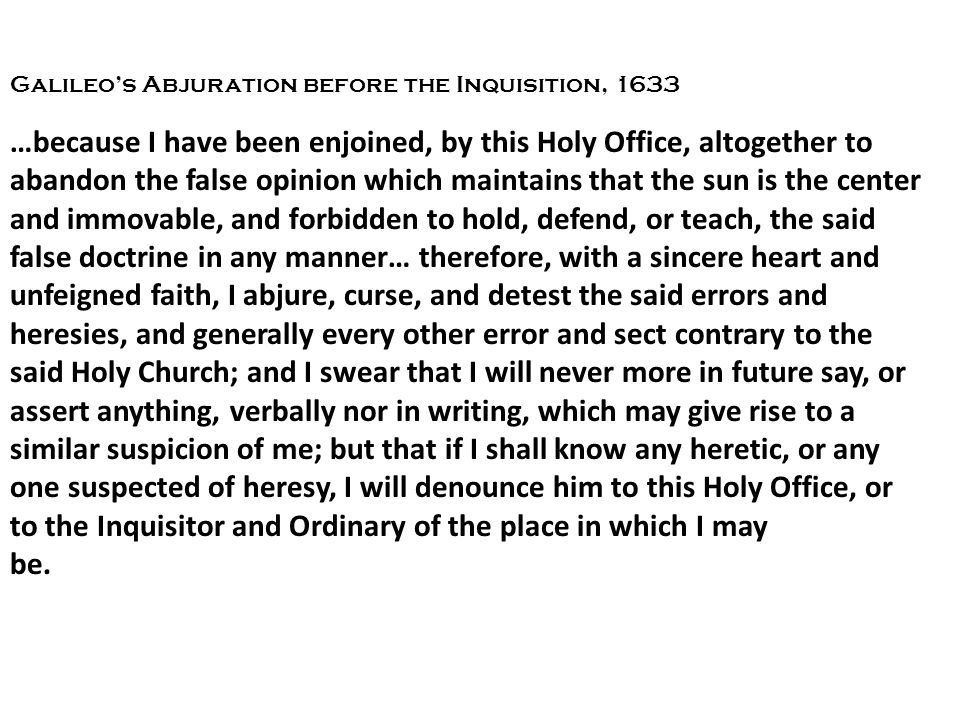 Galileo's Abjuration before the Inquisition, 1633