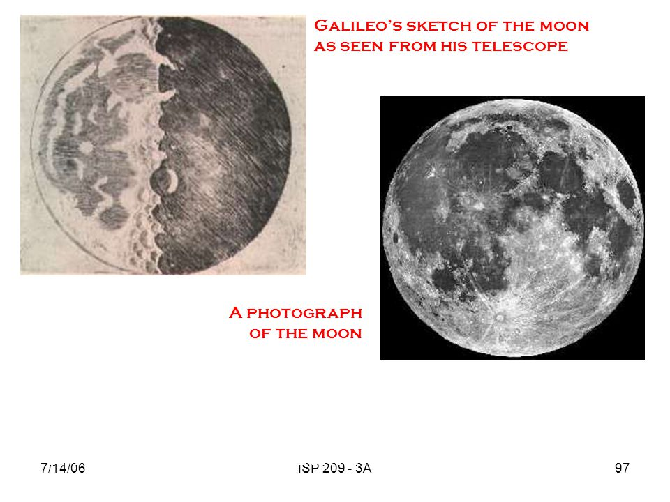 Galileo's sketch of the moon as seen from his telescope