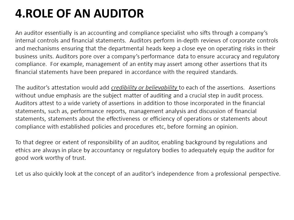 4.ROLE OF AN AUDITOR