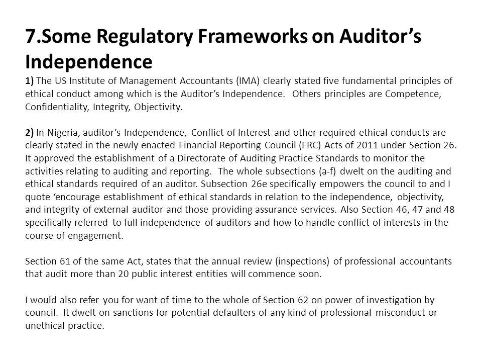 7.Some Regulatory Frameworks on Auditor's Independence