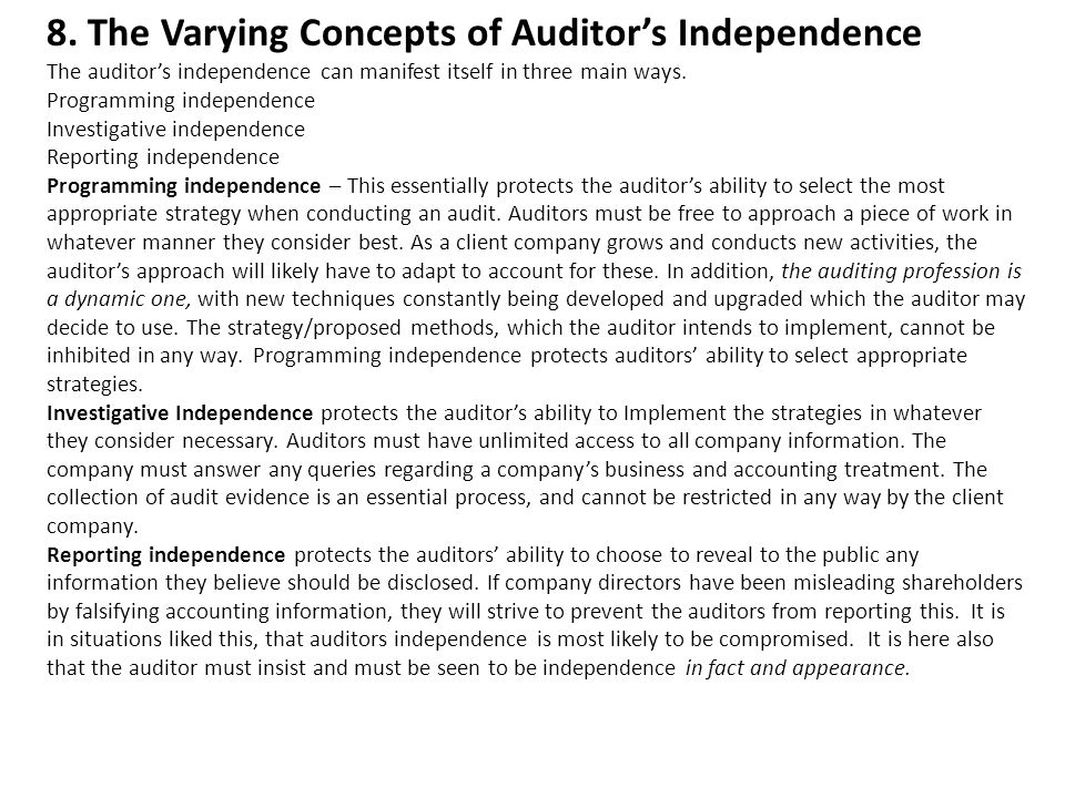 essay on auditor independence Free auditing papers, essays, and research papers my account search results free essays good essays better when it comes to auditor independence.