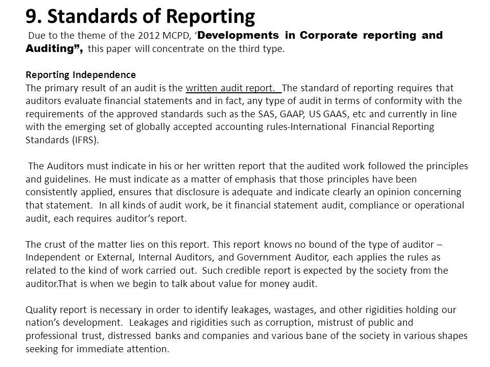 9. Standards of Reporting