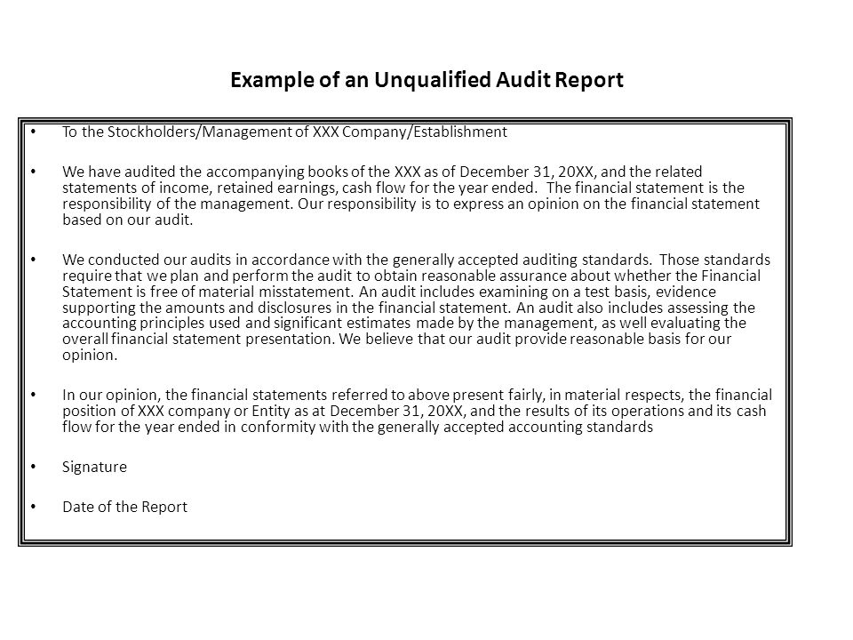 Example of an Unqualified Audit Report