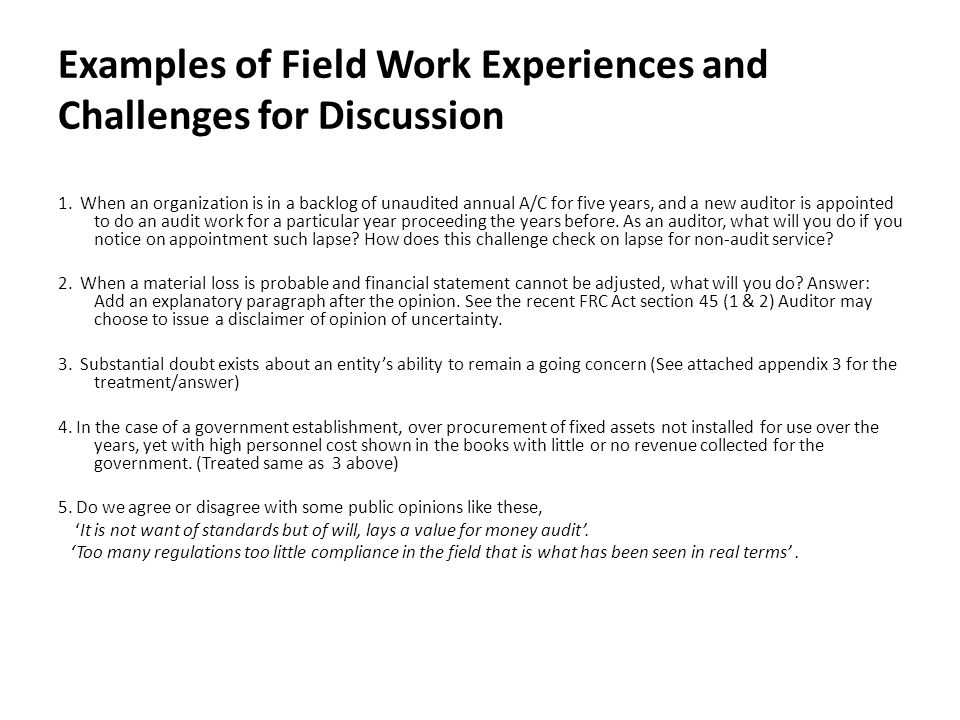 Examples of Field Work Experiences and Challenges for Discussion
