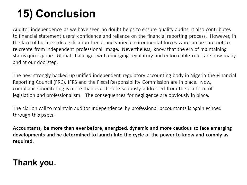 15) Conclusion