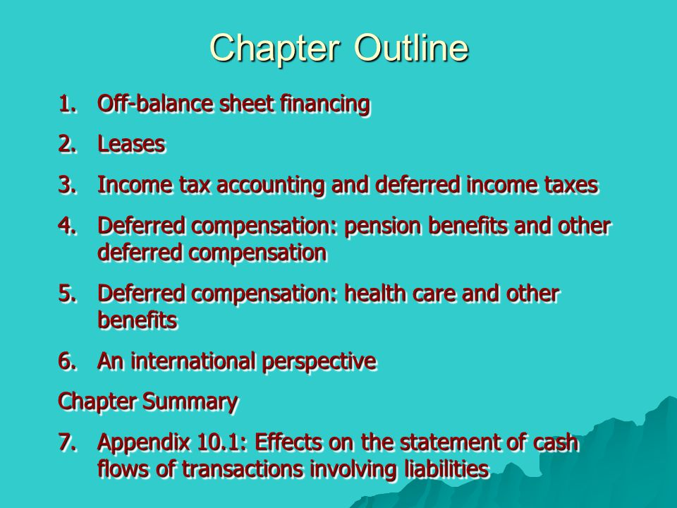 Chapter Outline Off-balance sheet financing Leases