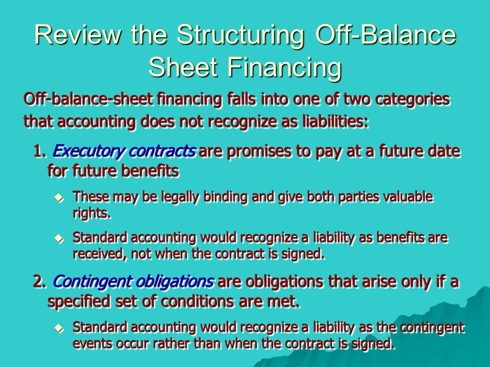 Review the Structuring Off-Balance Sheet Financing