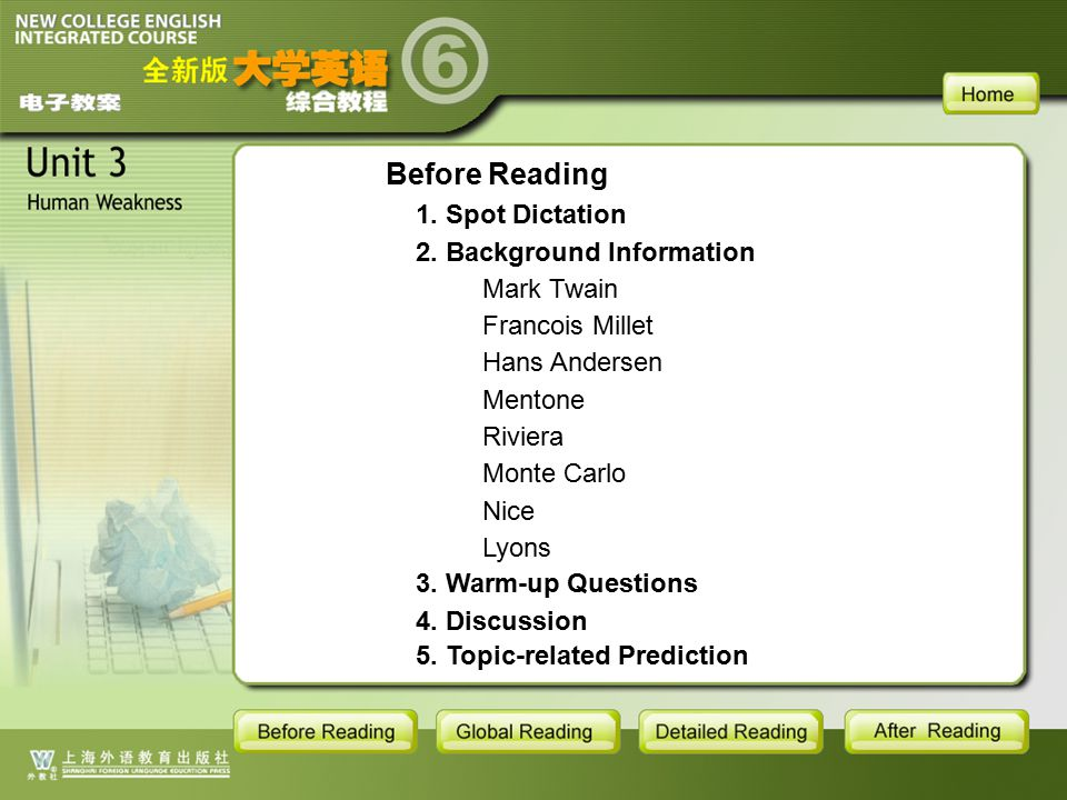 BR-main Before Reading 1. Spot Dictation 2. Background Information